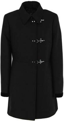 Fay Coat In Black Virgin Wool Mix.