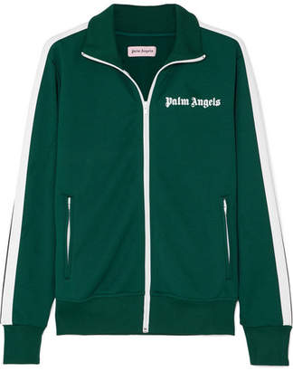 Palm Angels Striped Satin-jersey Track Jacket - Dark green