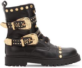 Studded & Belted Leather Combat Boots