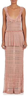 Alberta Ferretti Women's Tiered Crochet Gown