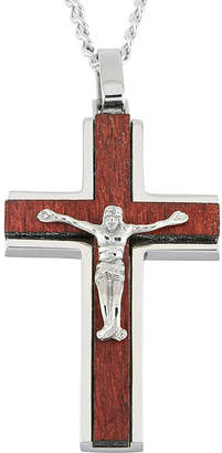 FINE JEWELRY Mens Stainless Steel & Wood Crucifix Pendant
