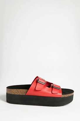 Forever 21 Faux Leather Platform Slide Sandals