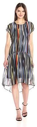 Anne Klein Women's Dropped Waist Printed Georgette T-Shirt Dress