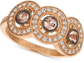 LeVian Le Vian Peach Morganite (1/4 ct. t.w.) & Diamond (1/3 ct. t.w.) Ring in 14k Rose Gold