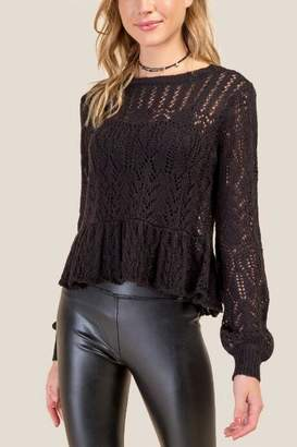 francesca's Camille Peplum Sweater - Black