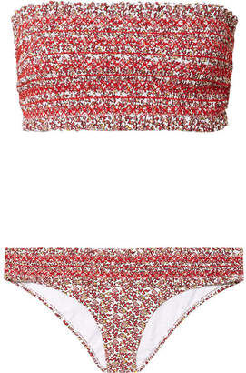 Tory Burch Costa Smocked Floral-print Bandeau Bikini - Red