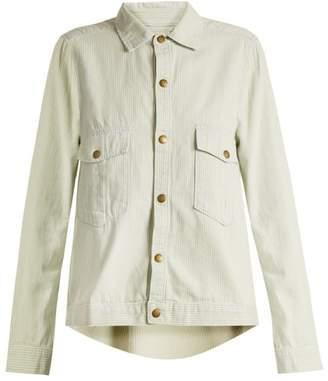 The Great The Shirt Striped Cotton Jacket - Womens - Light Denim