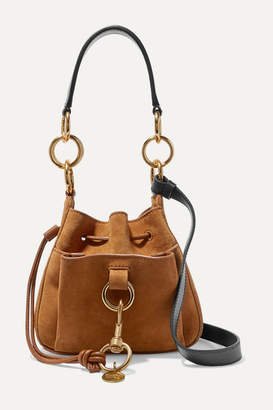 See by Chloe Tony Small Textured-leather And Suede Bucket Bag - Tan