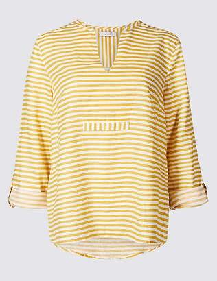 Marks and Spencer Linen Blend Striped Long Sleeve Blouse
