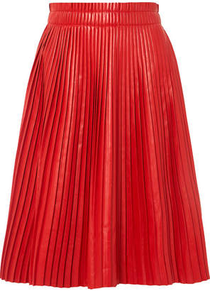 we11done Pleated Faux Leather Skirt - Red