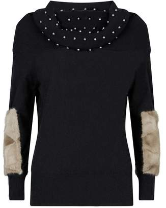 Izaak Azanei Fur Patch Beaded Sweater