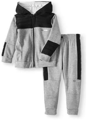 RBX Colorblock Fleece Zip-up Hoodie & Moto Jogger Pants, 2pc Active Set
