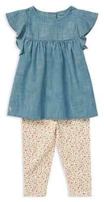 Ralph Lauren Girls' Chambray Top & Floral Leggings Set - Baby
