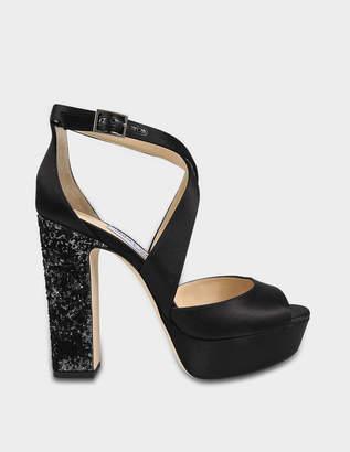 Jimmy Choo April Satin Platform Sandals in Black and Anthracite and Black  Satin with Velvet Glitter 9e44de075e2