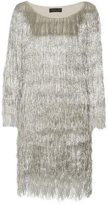 Rachel Zoe Metallic Fringed Knitted Mini Dress