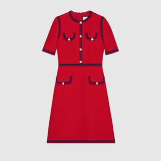 0456215c5633a5 at Gucci · Gucci Wool silk dress with Web