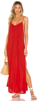 Indah Yasmine Solid Gathered Neckline Maxi Sundress