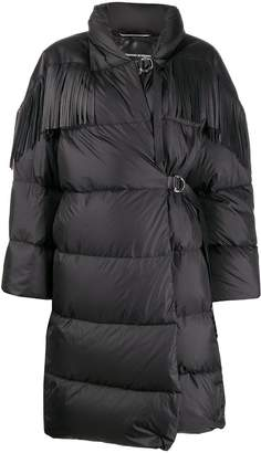 Ermanno Scervino leather fringe puffer coat