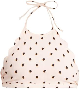 Marysia Swim Mott scallop-edged spotted halter top