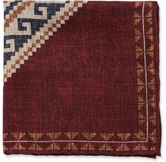 Brunello Cucinelli Graphic-Pattern Linen/Cotton Pocket Square