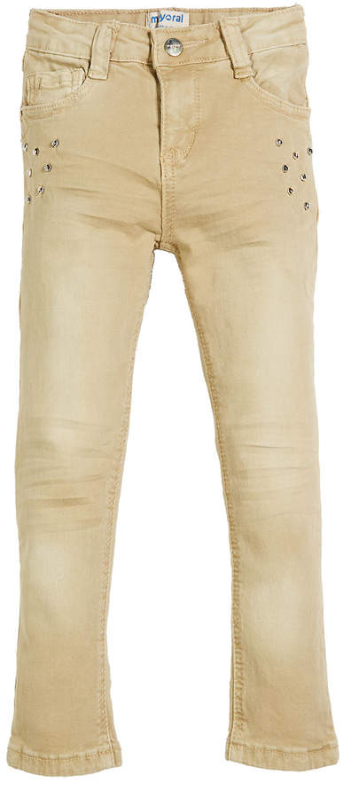 Mayoral Straight-Leg Studded Twill Jeans, Size 3-7