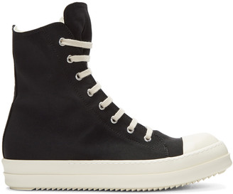 Rick Owens Drkshdw Black Nylon High-Top Sneakers $725 thestylecure.com