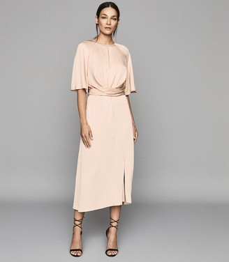 Reiss ARLO HALF SLEEVE MIDI DRESS Light Pink