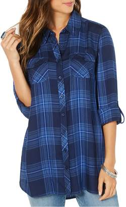 Style&Co. Style & Co. Button-Down Roll-Tab Sleeve Plaid Shirt
