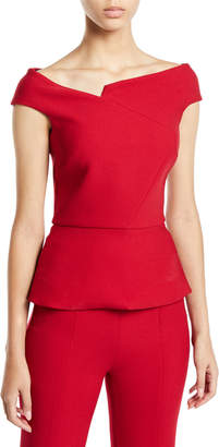 Roland Mouret Off-The-Shoulder Short-Sleeve Peplum Top