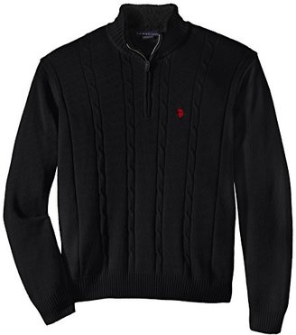 U.S. Polo Assn. Men's Big-Tall Cable-Knit Sweater with Sherpa Collar Lining $100 thestylecure.com
