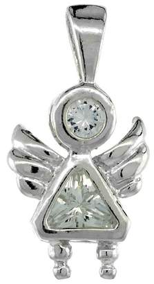 Sabrina Silver Sterling Silver Birthstone Angel Brat Charm April Clear Color Cubic Zirconia