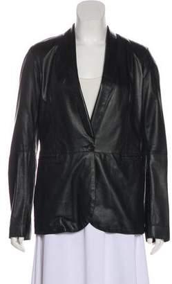 R 13 Leather Shawl-Lapel Blazer