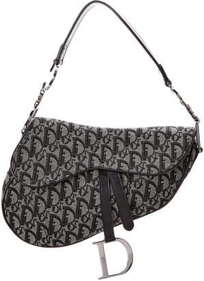 Christian Dior Black Trotter Canvas Saddle Bag