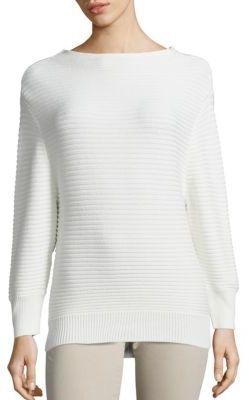 AG Clove Cotton & Cashmere Rib-Knit Sweater $198 thestylecure.com