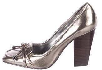 Calvin Klein Metallic Leather Square-Toe Pumps