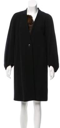 Dries Van Noten Fur-Trimmed Wool Coat