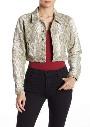 Wild Honey Faux Snakeskin Cropped Jacket