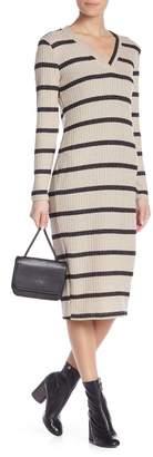 Lush Striped Ribbed Midi Bodycon Dress