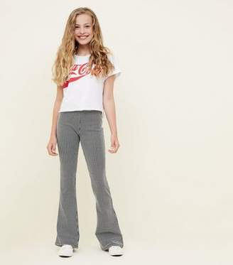 New Look Girls Black Stripe Ribbed Flared Trousers