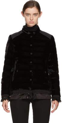 Moncler Black Velvet Down Twist Beatrice Jacket