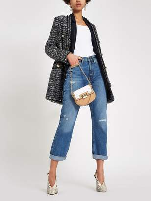 River Island Distressed Mom Jeans - Mid Blue