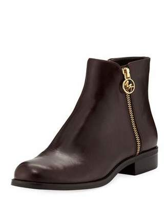 MICHAEL Michael Kors Jaycie Flat Polished Leather Zip Booties
