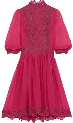 Costarellos Lace-trimmed Gathered Silk-chiffon Dress