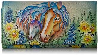 Anuschka Anna by Hand Painted Leather Women's Three Fold Wallet | Lion in Love