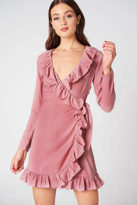 Na Kd Boho Long Sleeve Wrap Frill Dress