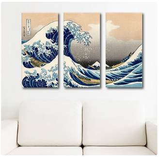 The Great Alonline Art Wave Katsushika Hokusai POSTER PRINTS ROLLED (Print on High Quality Fine Art PHOTO PAPER) 3 Panels Combination Poster For Living Room Poster For Bedroom