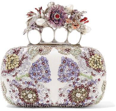Alexander McQueenAlexander McQueen - Knuckle Embellished Satin Clutch - Ivory
