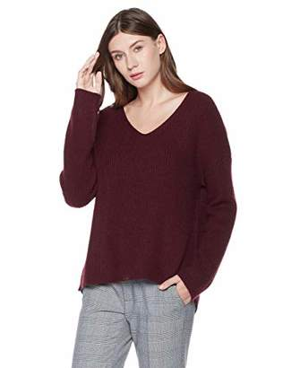 A.Dasher Women Chunky Ribbed Wide-Neck High-Low Cocoon Sweater Top