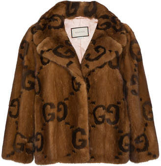 Gucci Fur jacket with double G logo