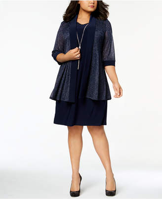 R & M Richards Plus Size Shift Dress & Metallic Jacket